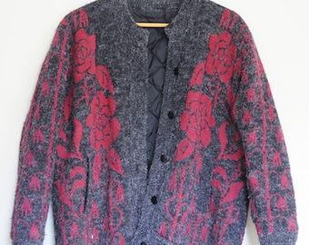 Grey & Red Vintage 80's Patterned Grandpa Sweater/Cardigan