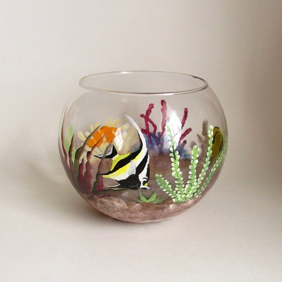 Colorful fish bowl hand painted fish tank decorative glass for Painted glass fish