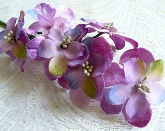Silk and Velvet Millinery Flowers Lavender Orchid Periwinkle Chartreuse Spray of Six for Hats Weddings Easter 1FN0001L