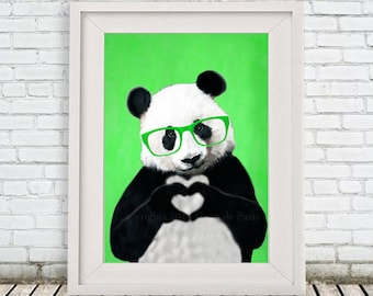 Panda print by Coco de Paris, original Panda creation, love print, panda art print, cute gift for Christmas