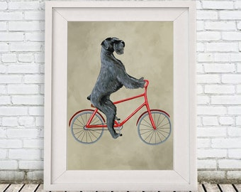 Giant Schnauzer Print, schnauzer Illustration Art Poster Acrylic Painting Kids Decor Drawing Gift, Dog on bicycle, bicycle print