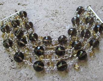 Smoky Quartz and Citrine Bracelet
