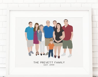 Custom Family Portrait Art, Custom Family Wall Art, Custom Family Cartoon, Family Portrait Print