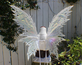 X Large White Iridescent Fairy 4 Wing Fantasy Wings