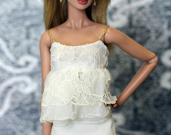 ELENPRIV Ivory lace top for Fashion royalty FR2 and similar body size dolls.