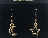 Gold Moon and Star Earrings on Gold Filled Ear Wires, Celestial Earrings, Asymmetrical Earrings, Celestial Jewelry, Moon Charm, Star Charm