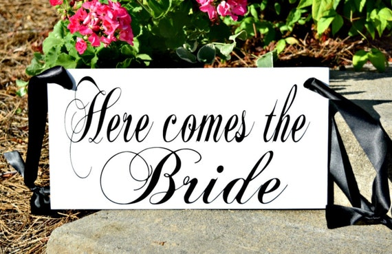 Here comes the Bride wedding sign, wood wedding sign, ring bearer sign, wedding decor, wedding ceremony decoration, bride, groom, customize