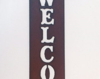 CAMPER TRAILER Style Vertical Welcome Sign made of Rustic Rusty Rusted Recycled Metal