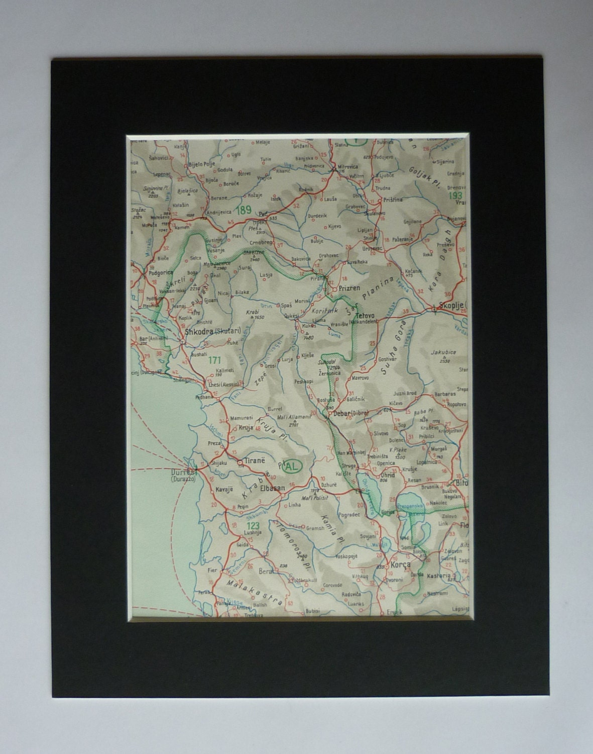1930s Antique Map Of Durres Albania Decor Available Framed