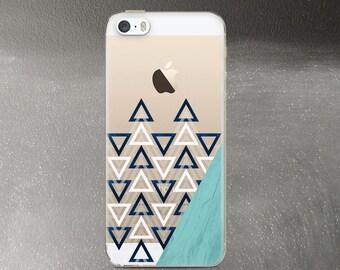 Transparent iPhone 5s Case, Triangles iPhone SE Case Clear, Geometric iPhone 5 Case Rubber TPU
