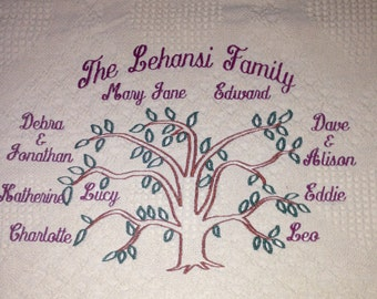 Personalized Embroidered Family Tree Blanket, Custom Afghan Personalized with Family Tree and Names