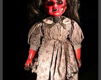 "Thetis 16"" Creepy Scary OOAK Hand Painted and Altered Porcelain Doll"