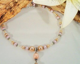 Pearly Pagan Circlet with Pink, Orange and Cream Faux Pearls
