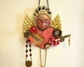 Religious Art, Rosary Altered Art, Rosary Gift, Illness Hope Gift, Encouragement Gift, Canceer Survivor, Angel of Hope, Religious Art