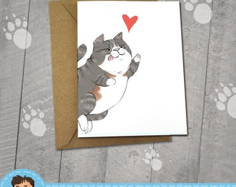 Happy Gray Cat, I love You Card, Note Cards, 5x7 Kraft Envelope, Recycled, Blank Kraft Greeting Card, Great for any use, Kitty