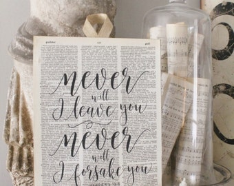 Never Leave Forsake You Wood Sign Vintage Dictionary Book Page Wall Art Print Scripture Verse French Farmhouse Decor Bible Scripture Verse