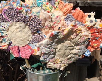 Primitive Flower Stems with Petals made from Cutter Quilt