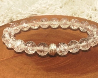 Crystal Quartz with Fine Silver Focal. Beaded with Hill Tribe Silver Boho Bead Bracelet - B0104