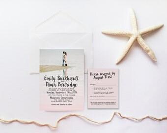 Wedding Invitation Suite DEPOSIT, DIY, Rustic, Photo Invite, Hipster, Kit, Printable, Custom, Watercolor, Blush (Wedding Design #59)