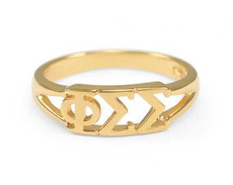Phi Sigma Sigma Sunshine Gold plated Ring // ΦΣΣ Sorority jewelry // Sorority gifts // Gifts for Her // Gift Guide // Sorority Merchandise