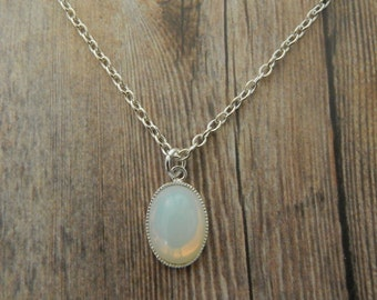 White  Opal Necklace, Opal Pendant, Silver White Opal Necklace, Silver Necklace