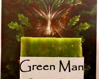 Green Man Organic Bath Soap - Fresh Herbal Soap, Green Herbal Soap, Fresh Clean Scent, Handmade Soap, Natural Skin Care