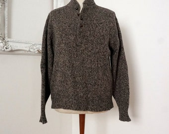 Tweed Brown Vintage Wool Sweater with Button Up Neck Sz Large