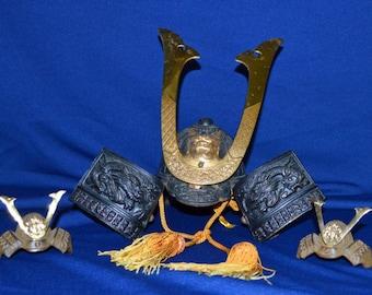 Vintage Japanese Samurai Helmet -Dragon's Helmet and 2 miniature Kabuto helmuts