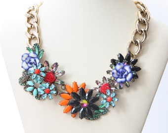 Party Necklace, Flower Necklace, Women's Jewelry, Fashion Necklace, Wedding Jewelry, Chunky Necklace