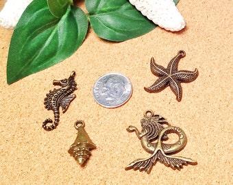 Multi Set Beach Ocean Coastal Inspired Charms Pendants  -  DIY Jewelry Charms - Set Antique Bronze