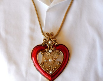 Vintage Guilloche Enamel Red Heart Necklace, Big Red Heart Faux Pearl Necklace, Valentine's Day Gift, Heart Jewelry