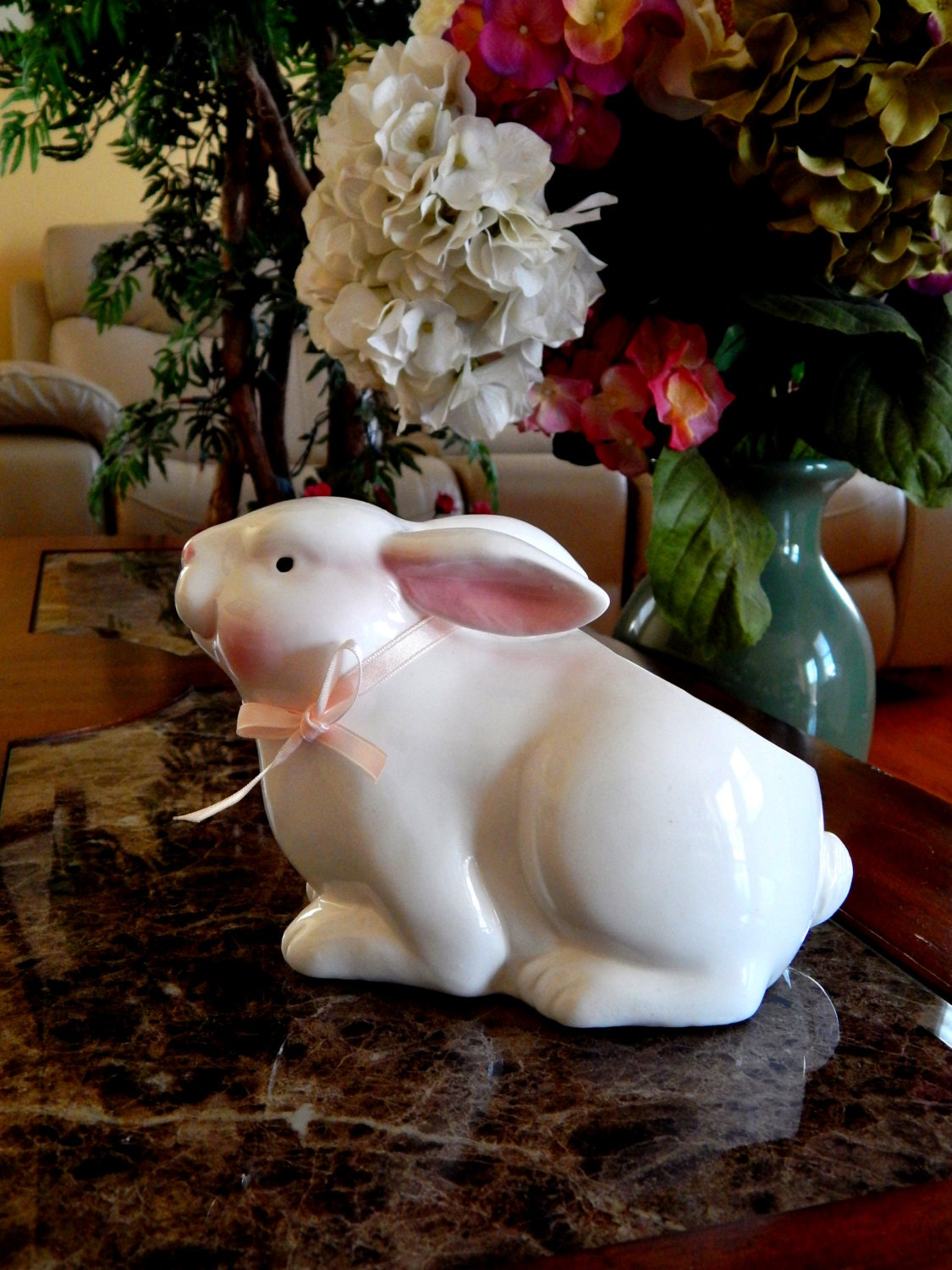 Vintage Easter Bunny Planter Vase White And Pink Ceramic