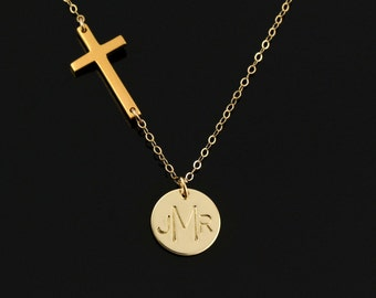 Initial Cross Necklace, Personalize Necklace, 14k Gold Monogram Necklace, Mothers Necklace, Personalized Gift For Her, Initial Coin Necklace