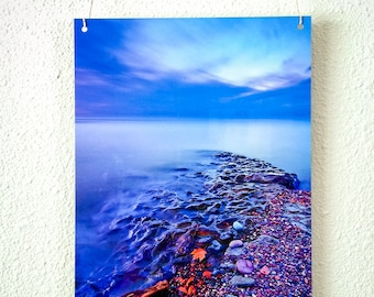 Metal Print, Lake Superior, Blue Hour Photo, Nature Photography, Driftwood, Last Light, Serene, Blue Water Sky, Heavenly, Zen, Mystical