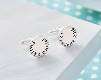Personalised Wedding Cufflinks - Groom Cufflinks - Wedding Gift - Anniversary - Groomsman Gift - Hand Stamped Wedding Cufflinks