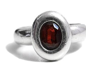 Tourmaline Ring Artisan Sterling Silver Gemstone Red