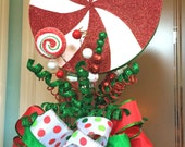 Christmas Tree Topper Peppermint Candy Tree Top topper Bow Peppermint Candy Gingerbread theme holiday tree topper bow
