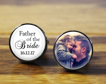 Father of the Bride Personalized wedding cufflinks - A personalised photo gift for your wedding day (stainless steel cufflinks)