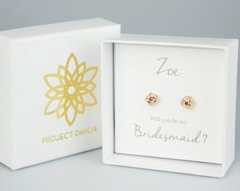 Bridesmaid Gift Ideas, Be My Bridesmaid Gift Box, Tie the Knot jewelry, Rose Gold Knot Earrings, Bridesmaid Jewelry PD