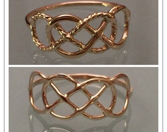14k Double Infinity Ring, 14k Infinity Ring, 14k Thumb Ring, 14k Knuckle Ring, 14k Engagement Ring, 14k Gold Ring, 14k Promise Ring
