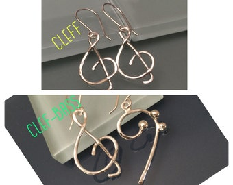 Bass/Clef Earrings, Treble clef earrings