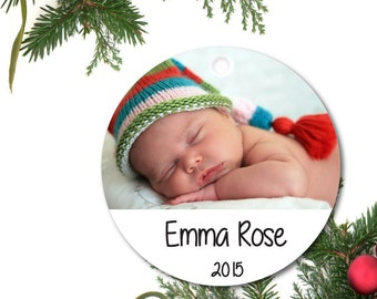 Photo Ornament, Personalized Baby Ornament, Babys First Ornament, Custom Ornament, Ceramic Baby Ornament, Holiday Gift