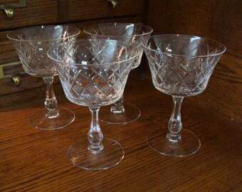 Fostoria vintage Crystal Etched Champagne/Sherbert, set of 4 Stemware