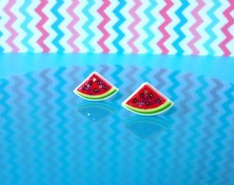 Watermelon Earrings, Glitter earrings, Fruit earrings, Stud earrings, Sparkly earrings