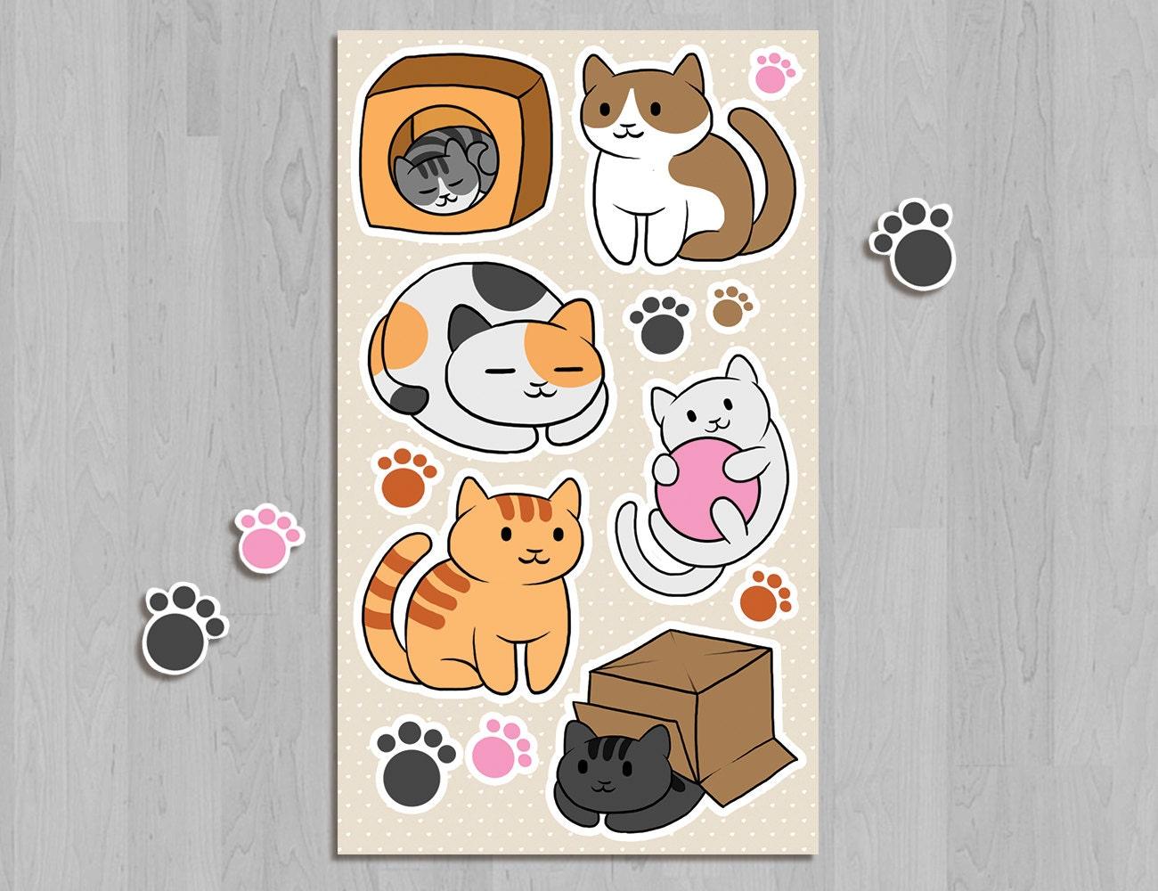 neko atsume sticker sheet kitty collector chibi cat app game
