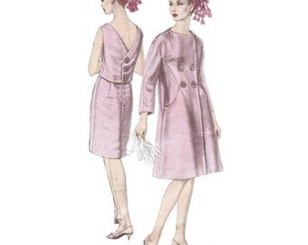 Vogue Couturier Design Jo Mattli 1477, dress and coat sewing pattern, Bust 34 inches, factory folded, kimono sleeves