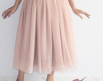 Pink Beige Tulle Skirt- Soft Tulle Skirt, Adult Tutu