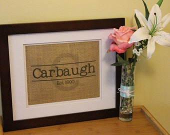 Personalized Burlap Last Name Sign