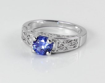 Tanzanite Ring Sterling Silver / Natural Tanzanite Engagement Ring / Tanzanite Wedding Ring