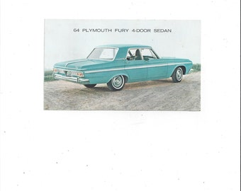 1964 Vintage Plymouth Fury 4 Door Sedan Car Postcard in Aqua, Unposted, Get Up & Go Plymouth, Vintage Car Advertising, Vintage Postcard